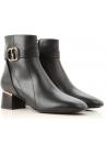 Tod's CUOIO GOM Bottines pour femmes en cuir noir et talon bas
