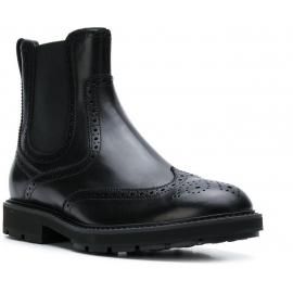 Tod's Chaussures Bottines pour hommes en cuir brillant noir avec brogue