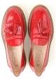 Tod's GOMMA PARA Mocassins pour femmes en cuir verni rouge et haut cuir