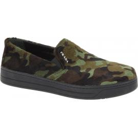 Prada Slip-on chaussures pour femme en cuir de veau façon poulain camouflage