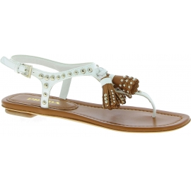 Prada Chaussures tongs cloutées avec glands pour femme en cuir blanc marron