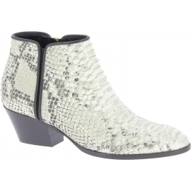 Giuseppe Zanotti Bottines de talon occidental femme en cuir de python platine