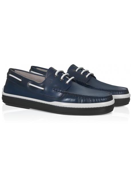 mode info pour pourtant pas vulgaire Chaussures bateau Tod's homme en cuir Bleu foncé