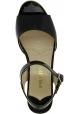 Prada Sandales à talons compensés fashion pour femme en cuir verni noir