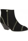 Zanotti Bottines de talon occidental pour femme en cuir suédé noir