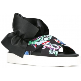 Sandales nu-pieds MSGM en cuir et tissu noir imprimé floral