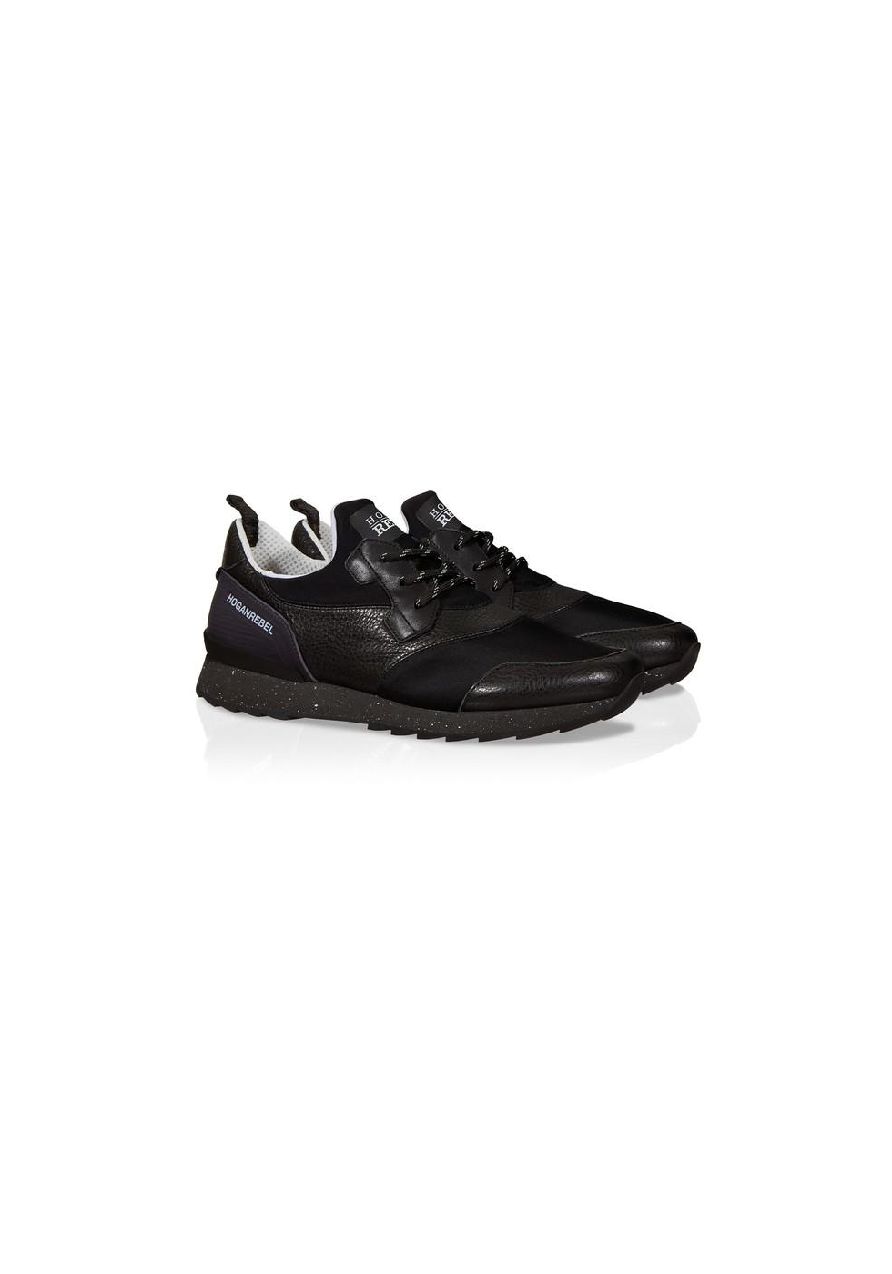 baskets hogan sneakers homme en cuir et tissu noir italian boutique. Black Bedroom Furniture Sets. Home Design Ideas