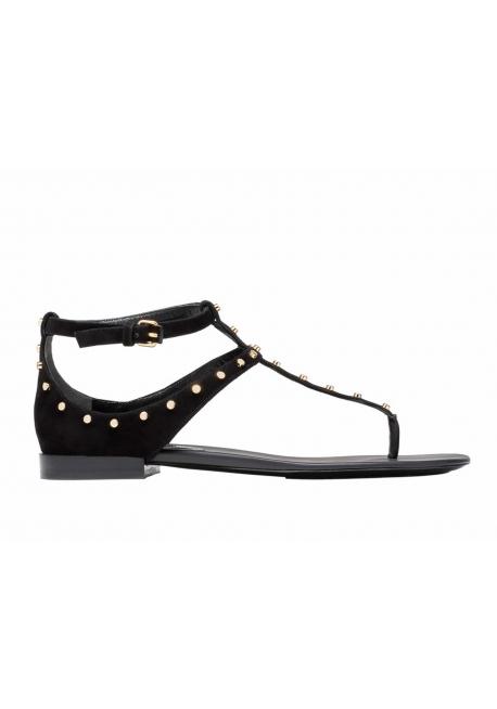 Sandales plates Balenciaga Milli en daim avec clous en mètal