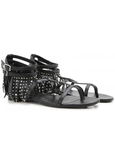Sandales plates Saint Laurent frange en cuir noir