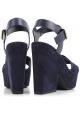 Sandales à plateforme Céline en daim Bleu foncé