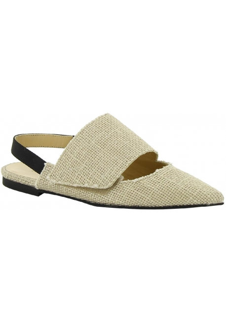Chaussures bride derrier Erika Cavallini en toile beige