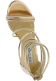 Steve Madden Sandales à talons hauts avec zip pour femmes en faux cuir doré