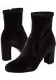 Steve Madden Bottines à talons pour femmes en velours noir avec zip latéral