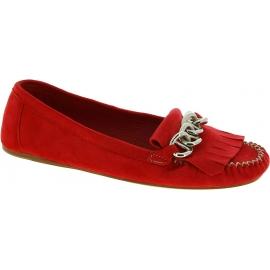 Prada Chaussures Mocassins à franges avec chaîne pour femmes en daim rouge