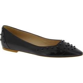 Tod's Chaussures ballerines fashion à bout pointu pour femme en cuir noir